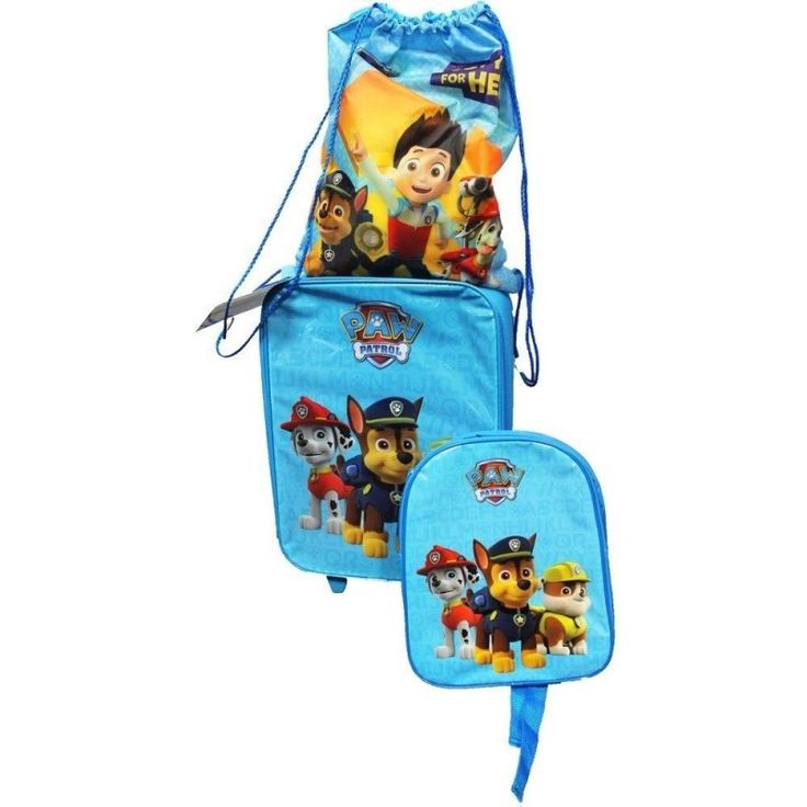 PAW PATROL BOYS TROLLEY LUGGAGE SET Features: One Trolley Luggage. One Nursery Backpack. One Shoe…
