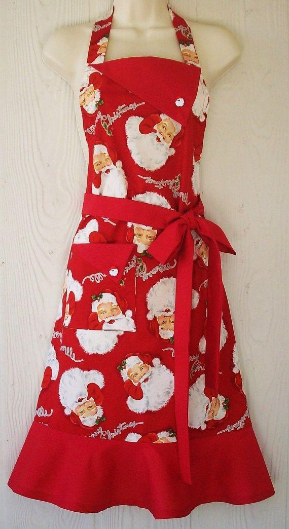 Tablier de Noël, heureux Santa, Santa Claus, Noël rétro plein tablier, tablier Style rétro féminin, KitschNStyle