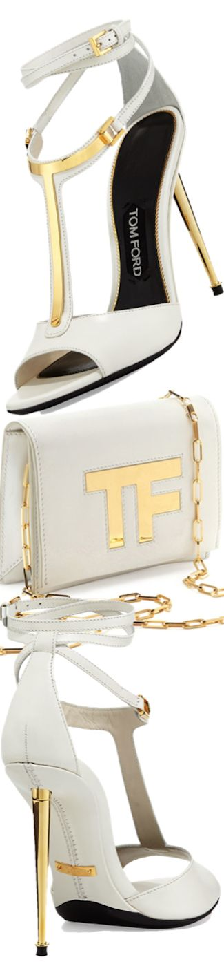 Tom Ford Leather T-Bar Ankle-wrap Sandal