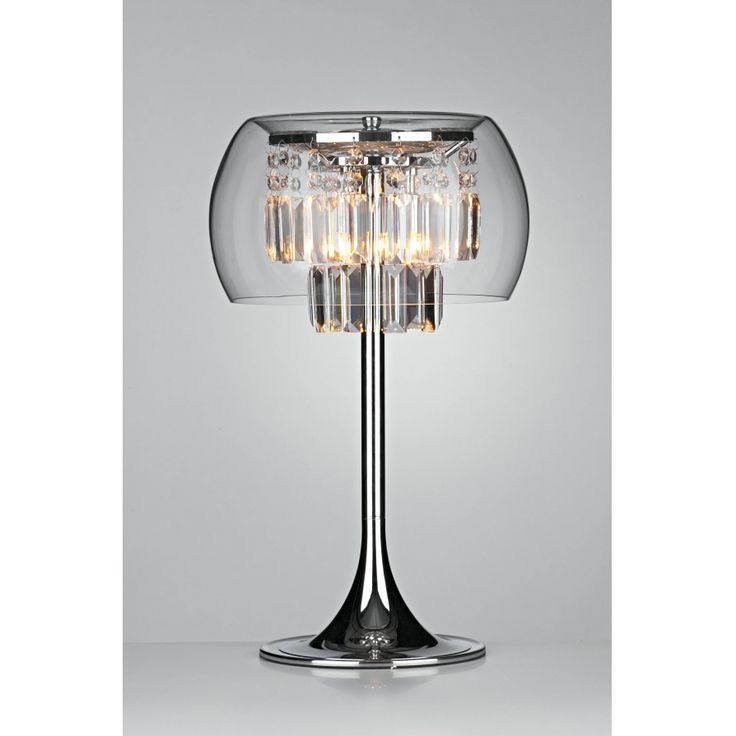 Dar Loco 3 Light Modern Table Lamp Clear Crystal And Polished Chrome Finish
