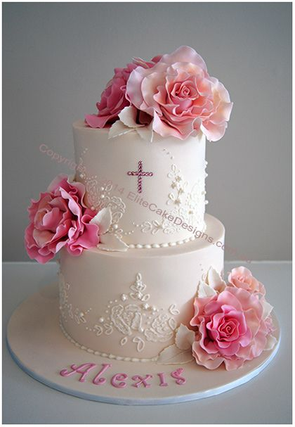Classic Roses Girl's Christening Cake  Fine Classical style girl's Christening cake with large hand- sugarcrafted roses, fine piping and cross with original Swarovski crystals.