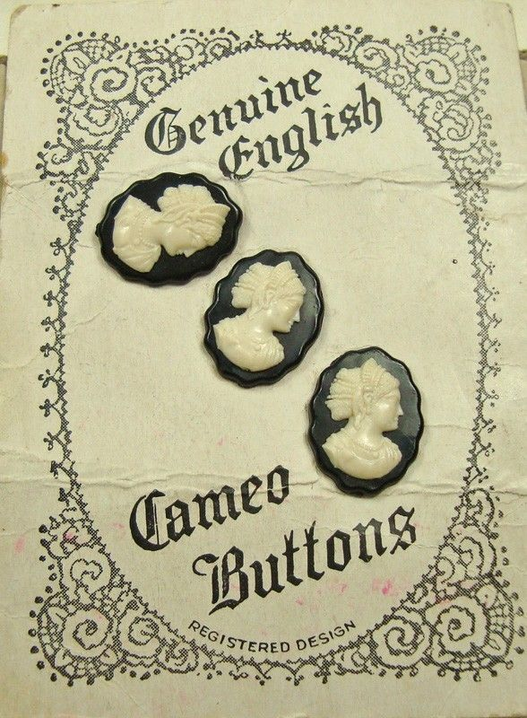 """ButtonShop.ca - Original card of 3 cameo buttons- Vintage printed card containing 3 cameo buttons.  The card is a bit tatty and has an old address written in faded ink on the back. They are made of some kind of plastic but of excellent quality with sharp modelling and detail.  Button size 3/4"""" (1.8 cm) tall."""