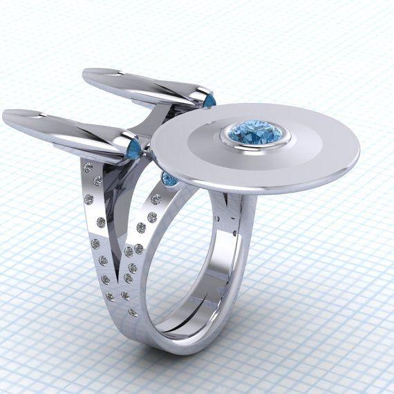 Sterling 925er Silber Ring in Star Trek Enterprise, Raum Ring, Star Trek-Enterprise-Ring, Sterling Silber Schmuck benutzerdefinierte Topaz Ring, mutig gehen...