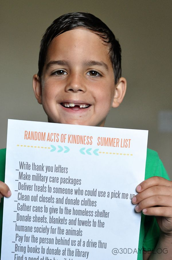 Random Acts of Kindness Summer List  - fun activity to do with kids over the summer to teach kindness.  Printables included (one filled in, one generic for you to fill in).