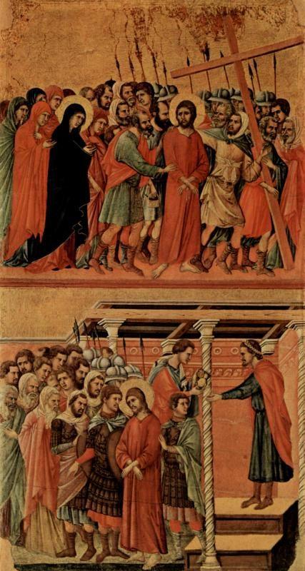 Маэста, алтарь сиенского кафедрального собора, оборотная сторона, Регистр со сценами Страстей Христовых: Шествие на Голгофу
