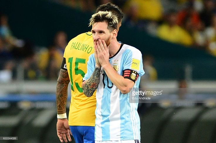 Lionel Messi of Argentina reacts during a match between Argentina and Brazil as part of FIFA 2018 World Cup Qualifiers at Mineirao Stadium on November 10, 2016 in Belo Horizonte, Brazil.