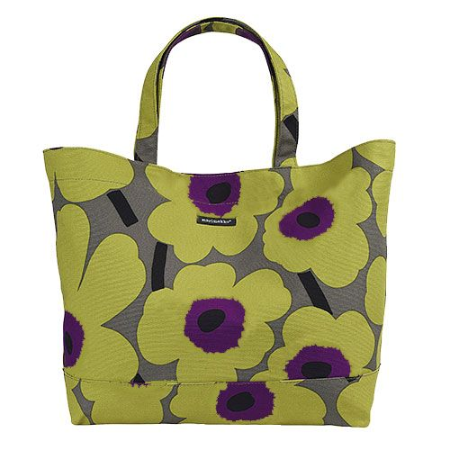 """""""Go green"""" and leave the grocery store without the plethora of plastic bags - this HUGE bag is big and sturdy enough to hold all your groceries. Marimekko Unikko Green/Purple Shopping Bag - $109"""