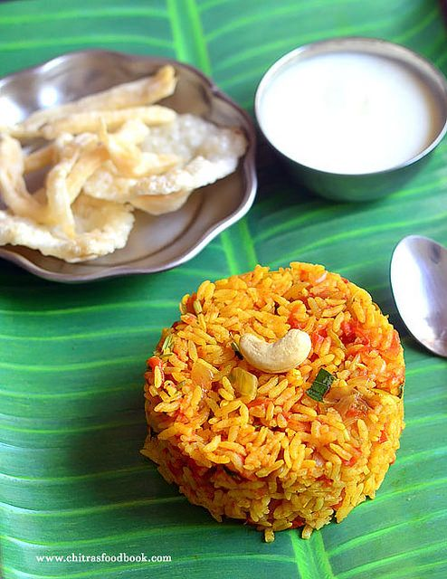 South Indian style tomato rice recipe using a pressure cooker - One pot recipe !