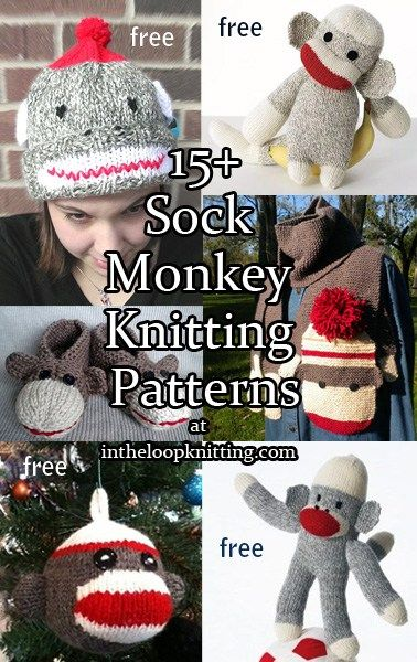 Sock Monkey Knitting Patterns for sock monkey toys, hat, scarf, blanket, ornament, mittens, and more
