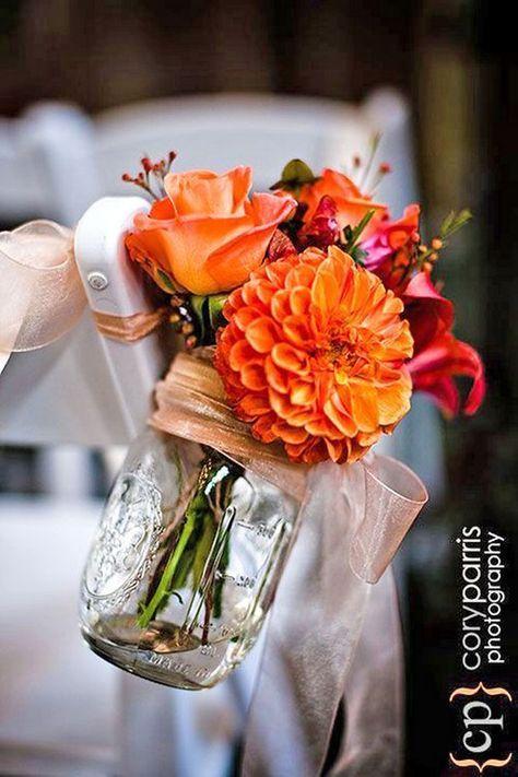 fall orange wedding aisle decor / http://www.himisspuff.com/fall-wedding-ideas-themes/11/