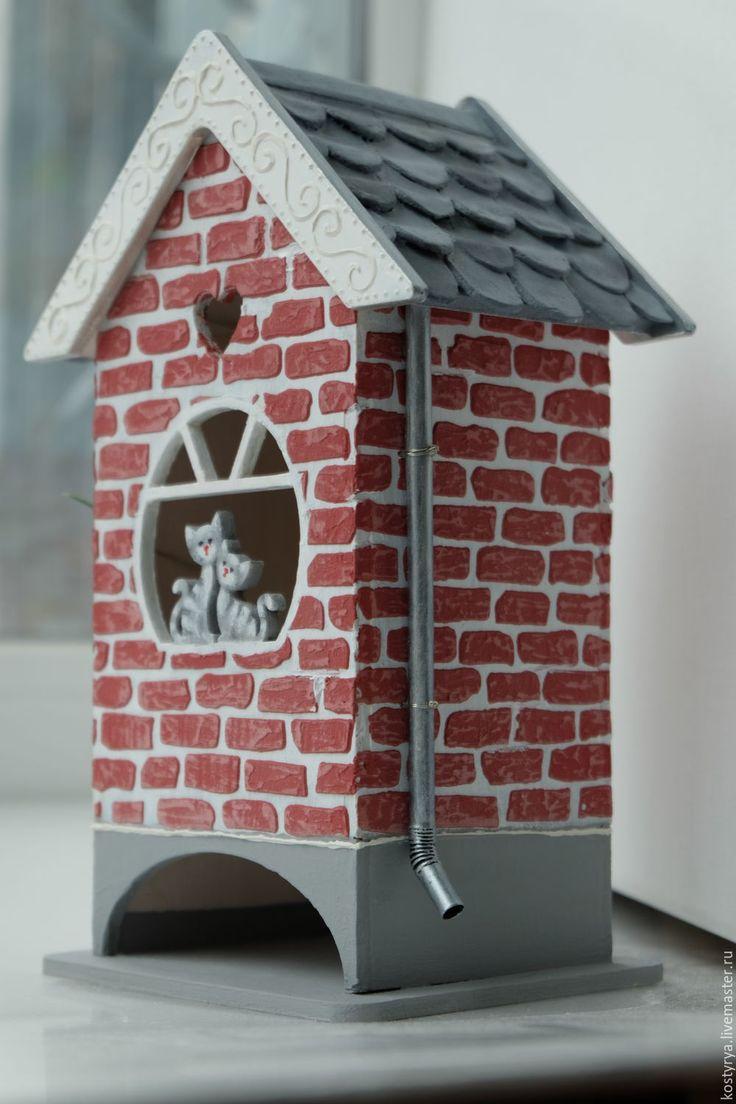 """Купить Чайный домик """"Влюбленные котики"""" - бордовый, серый, чайный домик, чайный домик для кухни"""