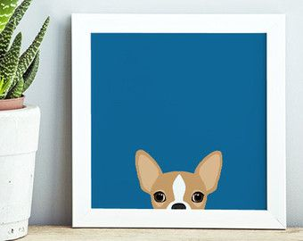Chihuahua Art Print Chihuahua Home Decor 8x10 by PaperPlanePrints