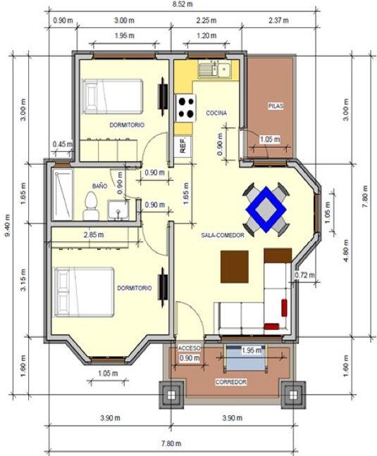 Plano de casa de 72 m2 un piso 2 dormitorios planos for Planos para casas de un piso