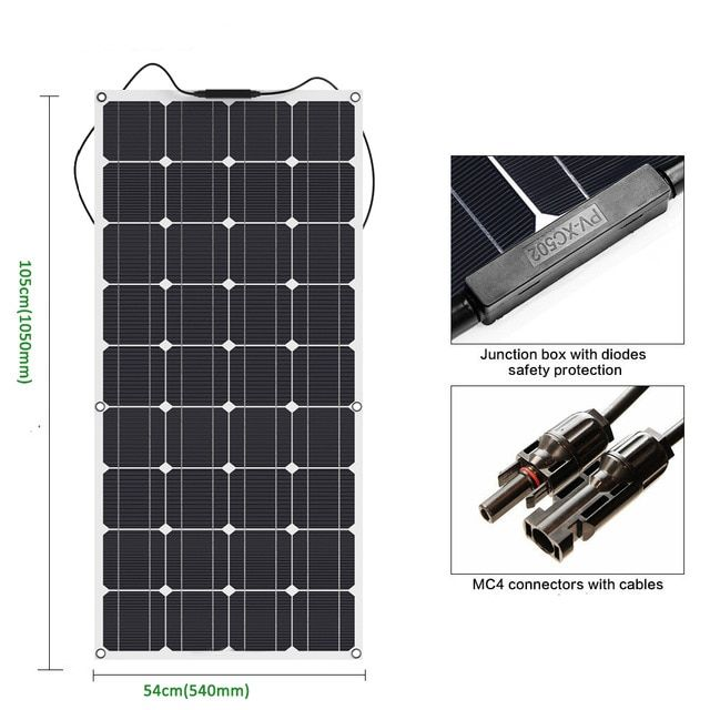 2018 Newly 100w Semi Flexible Solar Panel 18v Solar System Kit Photovoltaic Solar Panel Cell 12v Battery With Images Flexible Solar Panels Solar Panels Photovoltaic Cells