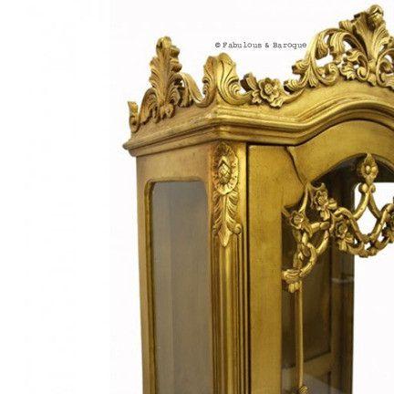 Adelais carved display cabinet gold leaf french ornate for Modern baroque furniture