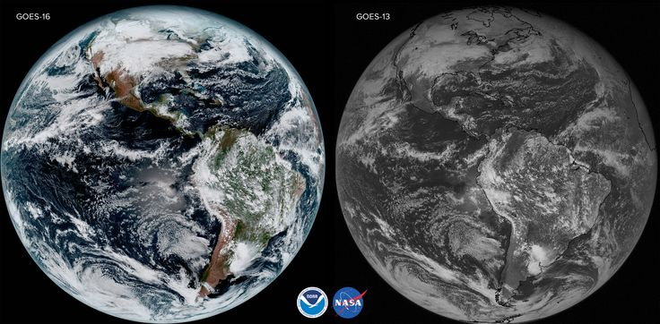 GOES-16 and GOES-13 -- In addition to offering more channels, the ABI can provide a full disk image of the Earth every 15 minutes, one of the continental U.S. every five minutes, and has the ability to target regional areas where severe weather, hurricanes, wildfires, volcanic eruptions or other high-impact environmental phenomena are occurring as often as every 30 seconds.