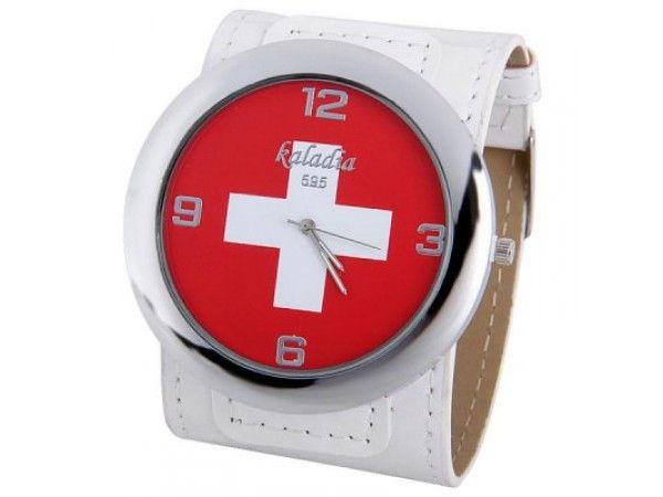 Mens Switzerland Flag Pattern Watch , Analog with Leather Band