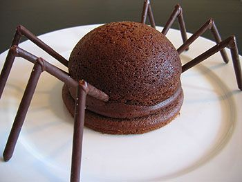 not martha — spider cakes. Looking for inspiration for 6-year old's birthday cake.  I have specific instructions to make a number 6 covered in bugs and webbing and spiders coming to eat them.  Nice!