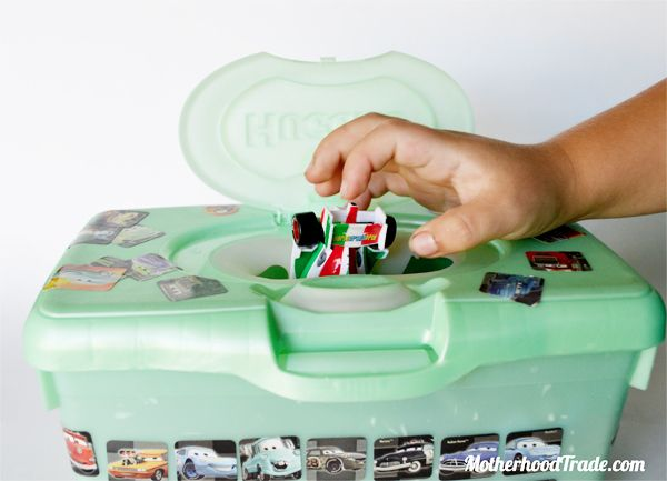 Baby wipes container = matchbox car storage
