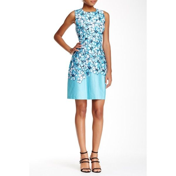 Sandra Darren Floral Print Dress (Petite) ($45) ❤ liked on Polyvore featuring dresses, petite, turquoise multi, white floral dress, white print dress, sandra darren dresses, floral print dress and floral pattern dress