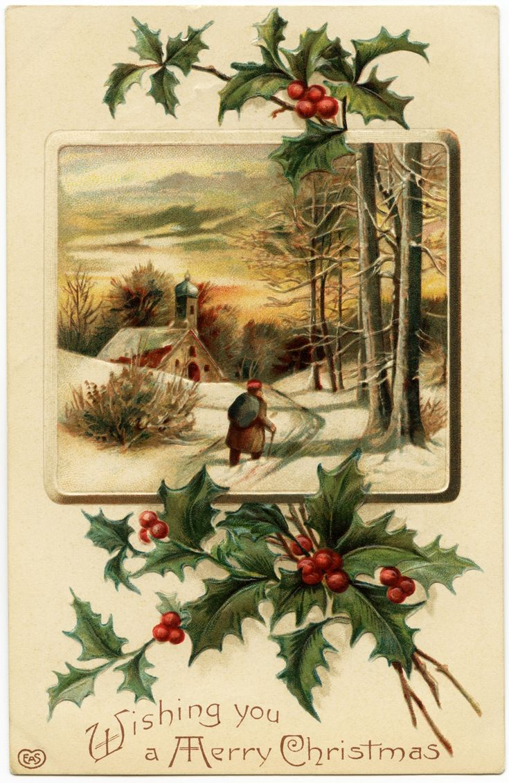 free ecard christmas party invitations%0A free vintage image  merry christmas postcard  antique christmas graphic   old fashioned christmas  holly and berries clipart
