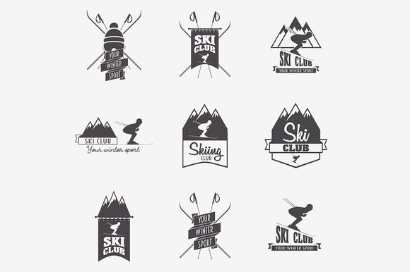 Set of ski club logo templates by Woters little shop on @creativemarket