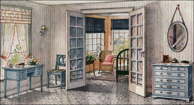 1922 armstrong sleeping porch vintage bedroom design for Armstrong design a room
