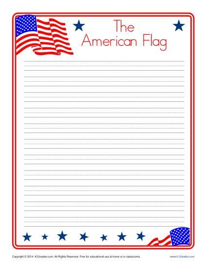 American Flag Writing Paper for Kids www.k12reader.com