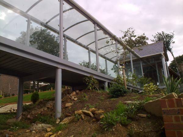Enclosed walkways residential | St Marks Church Hall - Covered Walkway | Clovis Canopies UK ...