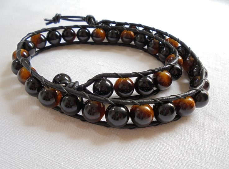 Unique Handmade Men's Wristband of thin Black Leather Cord braided with Glass Black & Brown beads. Length: 46cm