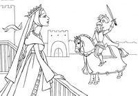 Рыцарский турнир - скачать и распечатать раскраску. Раскраска Рыцарь на коне, рыцарь победитель турнира, принцесса на балконе, королева смотрит на рыцаря, конь, меч, разукраски для девочек, раскраски принцесс