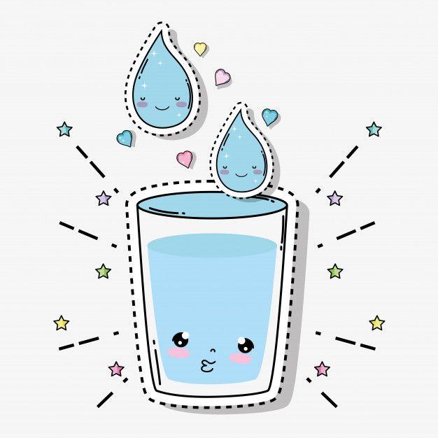 Kawaii Vaso De Agua Tierna Con Corazones Y Estrellas Vector Premium Kawaii Estrellas Vector Vector