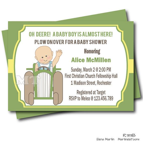 Original tractor baby shower invitation, perfect for a farm baby shower celebration, featuring a cute baby arriving in a tractor with green and