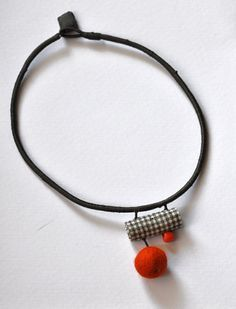 Asymmetrical Necklace Felt and Fabric Necklace by stellacreations
