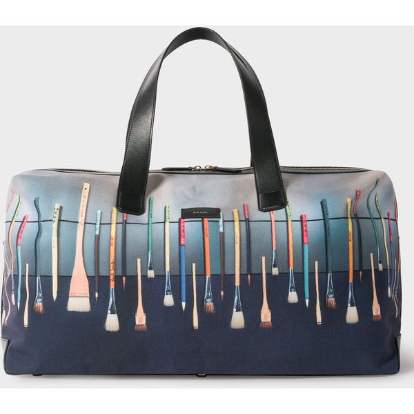 Paul Smith Men's Canvas And Leather 'Paint Brush' Print Holdall (16.990 RUB) ❤ liked on Polyvore featuring men's fashion, men's bags, multicolour, mens holdall, mens holdall bag, mens leather bag, mens canvas bag and mens leather holdall