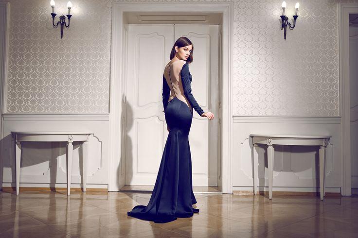 Daalarna Couture Black Silk Evening Dress_Secret collection