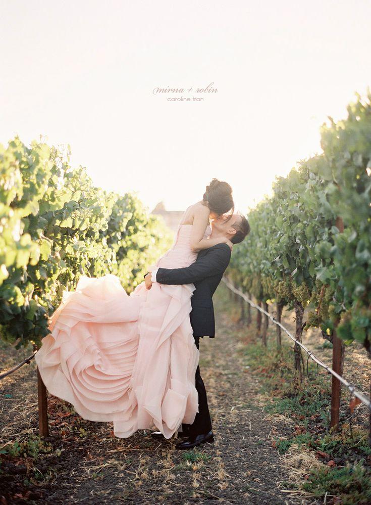 pink vera wang dress in the vineyards
