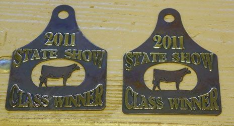 Ear tag shaped award keychains for shows