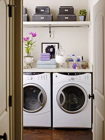 Clean up your act in the laundry by installing a countertop above a front-loading washing machine and dryer. The work surface is ideal for folding and sorting clothes and holding cleaning supplies. Got top-loading machines? You can still boost your storage capacity by hanging a shelf above the units. Add a rod for drying delicate garments.