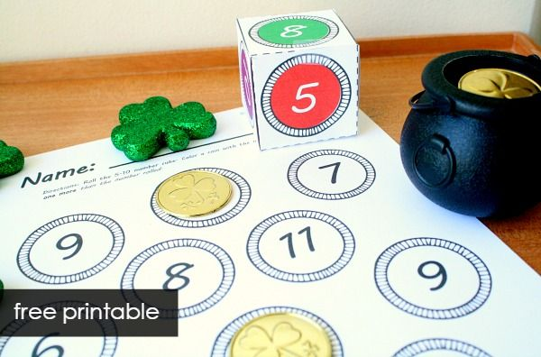 Use this roll and color St. Patrick's Day activity to practice number senses concepts in preschool and kindergarten