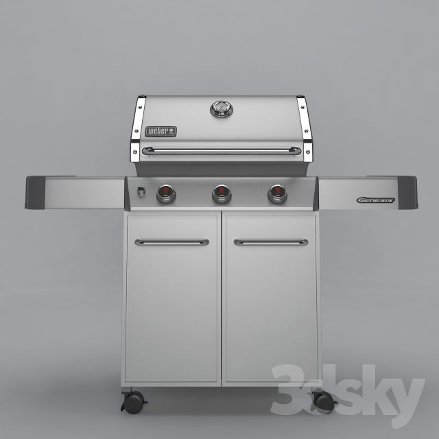 WEBER GENESIS GRILL http://3ddfree.com/architecture/weber-genesis-grill Program: 3dsMax 2014 + obj (Vray) .File Size: 33.69 MB .Description of this 3d model: WEBER GENESIS GRILL S-310 gas grill, correct topology, UVW Unwrapped, texture High Quality + mask