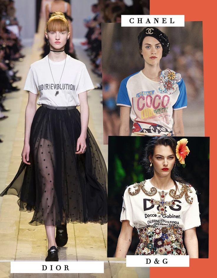 Tendência das principais marcas de moda: camisetas básicas divertidas