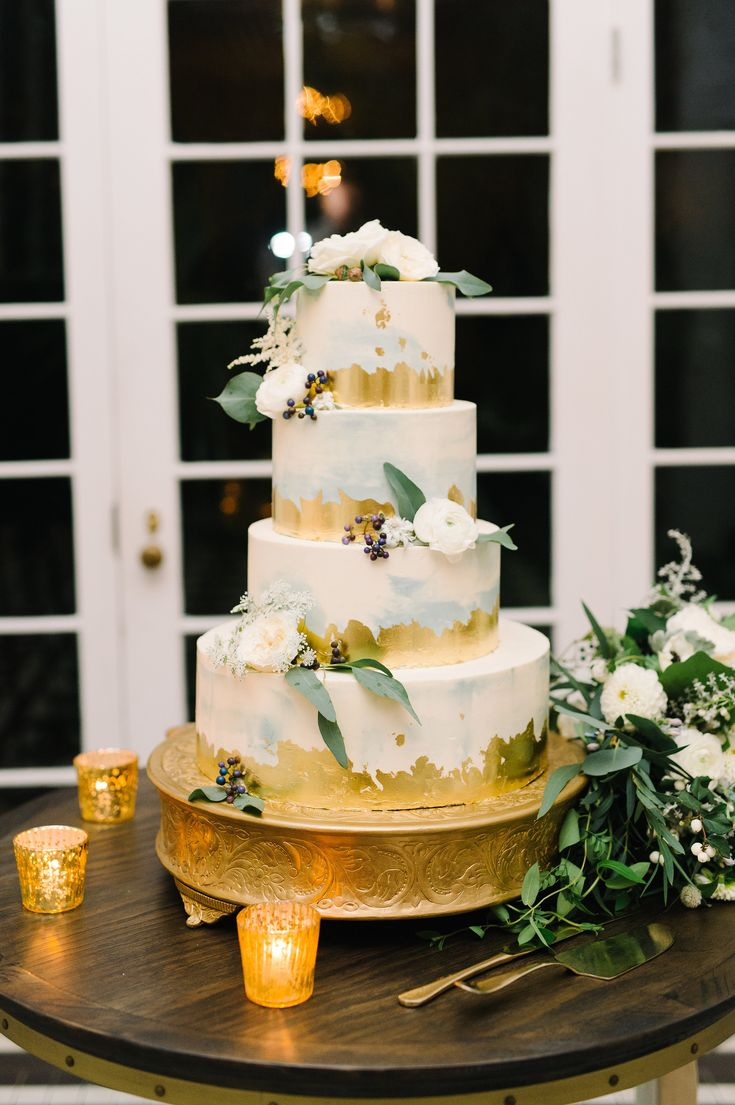 gold foil cake made by PPHG pastry chef Jessica Grossman at Severs & Perk's wedding at the Lowndes Grove Plantation | Charleston, SC |  Photo by Aaron and jillian Photography