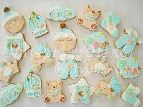 Standart boyda hazırlanmış butik erkek bebek kurabiyeleri...