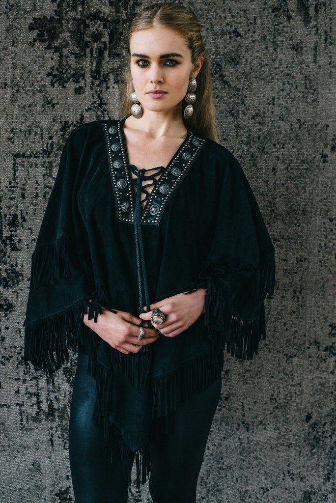 New Fall collection from Double D Ranchwear. Style Machito Poncho in Black.