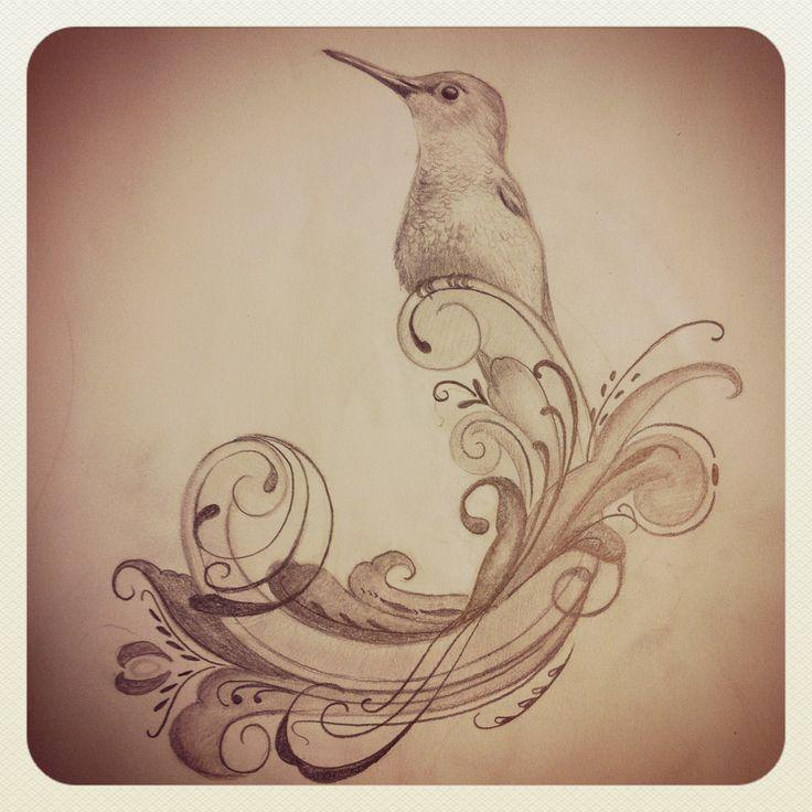 Rosemaling bird tattoo (drawing)