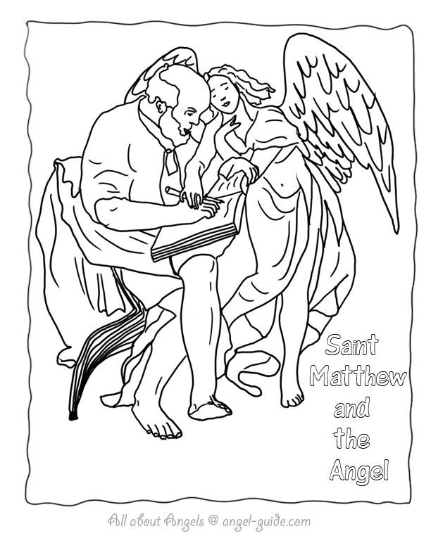 Coloring Matthew Pages Saint 2020 Angel Coloring Pages