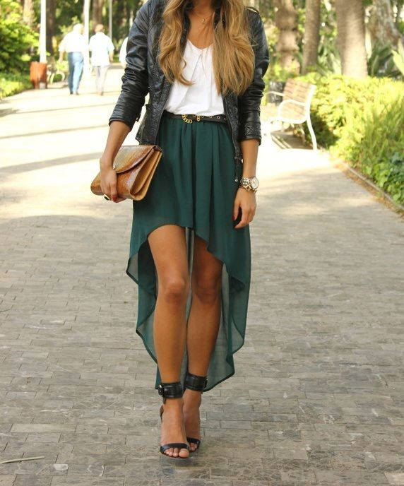 : Green Skirts, Outfits, Fashion, Style, High Low Skirts, Highlow, Clothing, Dresses, Leather Jackets
