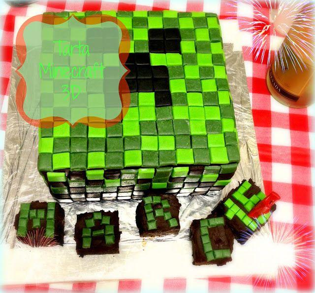 No solo cupcakes... con Mara : TARTA MINECRAFT 3D PARA EL CUMPLEAÑOS DE MARC