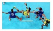 """An image posted by ESPN under the """"Must See"""" section displaying the Brazilian and Croatian team during their performance in Women's Handball. The manner in which the caption presents the match is a sort of teaser in the sense that it questions why a sports reporter would be interested in women's handball, especially a match that is between two foreign teams."""